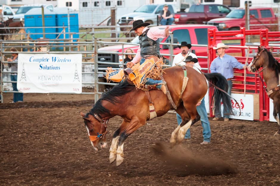 A saddle bronc rider at a rodeo is in good shape to finish his eight second ride