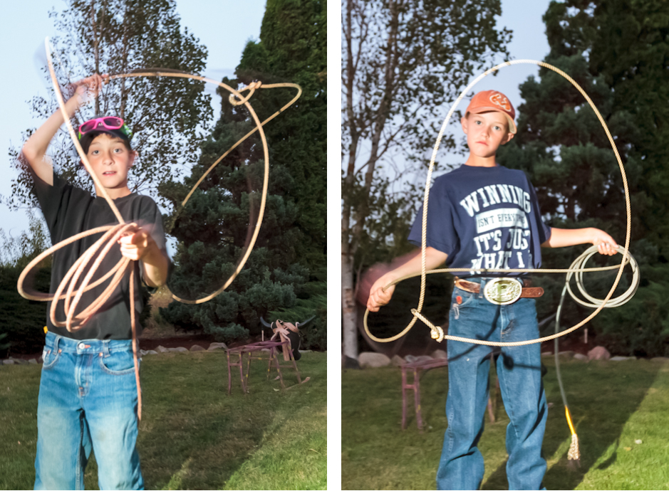 Boys showing off their trick roping at the wedding reception