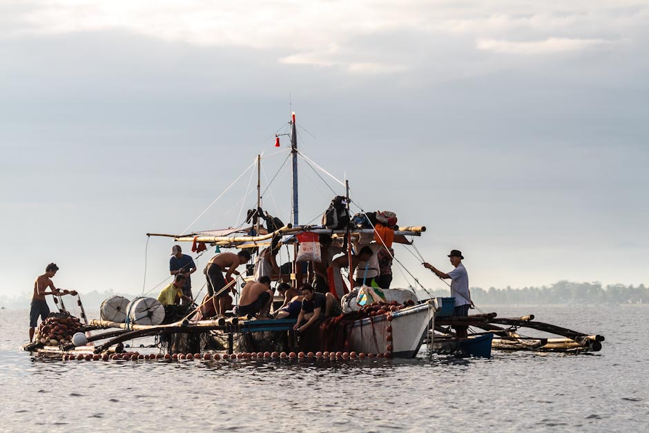 Cleaning fishing nets in Cagayan de Oro, Mindanao, Philippines