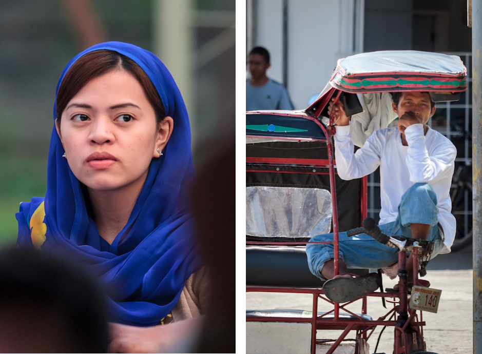 Young Muslim woman and a cycle taxi driver in Iligan, Mindanao, Philippines