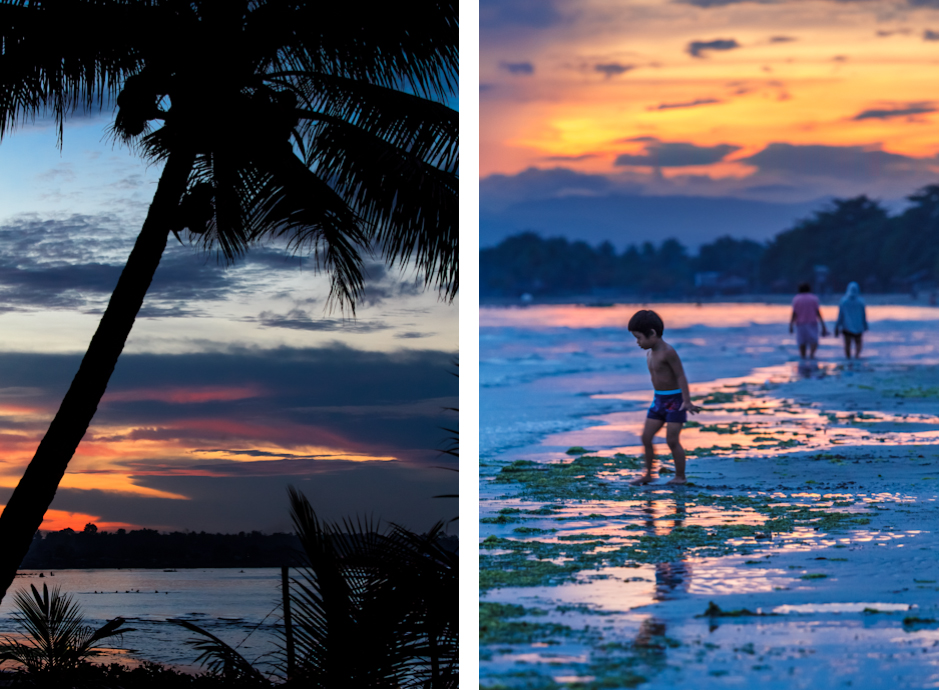 Sunset and sunrise over the bay at Cagayan de Oro, Mindanao, Philippines